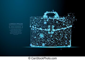 briefcase low poly blue - Abstract image of a briefcase in...