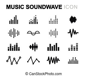 Vector line music soundwave icons set on white background