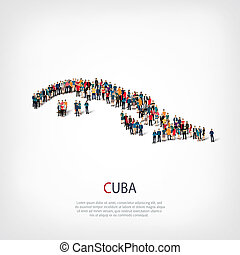 people map country Cuba - Isometric set of styles, people,...