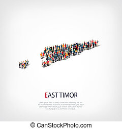people map country East Timor - Isometric set of styles,...