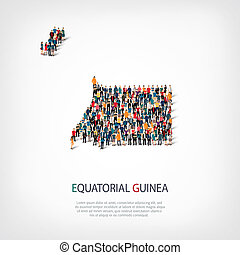 people map country Equatorial Guinea - Isometric set of...