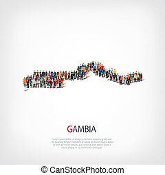 people map country Gambia - Isometric set of styles, people,...