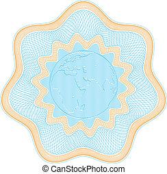 """Embossed globe rosetta - Secured \""""Guilloche\"""" rosette with..."""