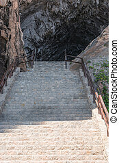 Stair treads to the grotto at Arta in Mallorca, Spain. -...