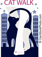 Graphic silhouette of a woman and cat. Art deco style poster...