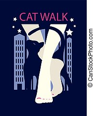 Graphic silhouette of a woman and cat