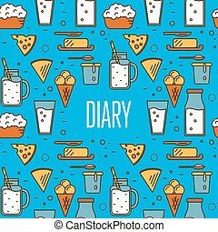 Best dairy product seamless pattern for packaging with...