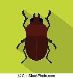Bug icon, flat style - Bug icon. Flat illustration of bug...
