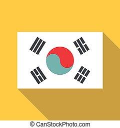 Korean flag icon, flat style - Korean flag icon. Flat...