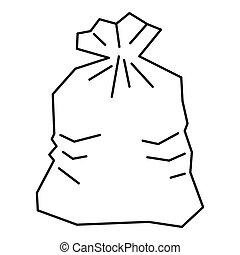 Garbage bag icon, outline style - Garbage bag icon. Outline...