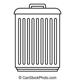 Trashcan icon, outline style - Trashcan icon. Outline...