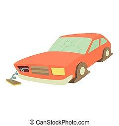 Broken car icon, cartoon style
