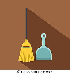 Broom and dustpan icon, flat style - Broom and dustpan icon....