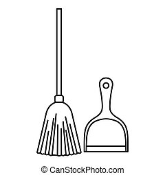 Broom and dustpan icon, outline style - Broom and dustpan...