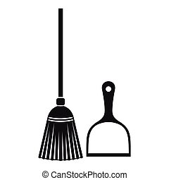 Broom and dustpan icon, simple style - Broom and dustpan...