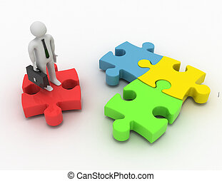3d rendering of man standing on the puzzle piece