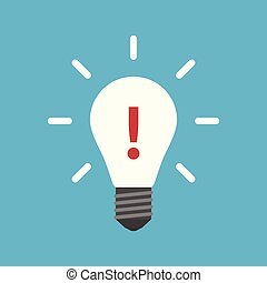 Exclamation mark in lightbulb