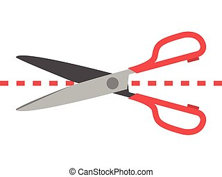 Scissors cutting dotted line isolated on white background....