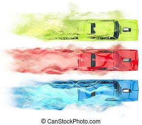 RGB muscle cars - smoke trails visual effect