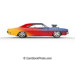Colorful vintage muscle car - side view