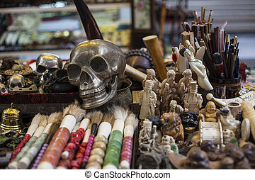 Skeleton in a souvenir shop - Chinese souvenirs. Skeleton in...