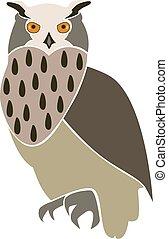 Eurasian eagle owl, isolated vector