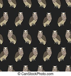 Seamless pattern Eurasian eagle owl, vector