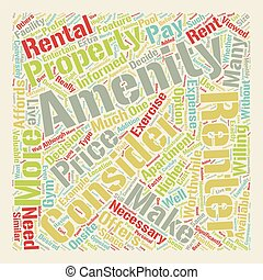 Consider The Amenities text background wordcloud concept