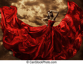 Woman Dancing in Red Dress, Fashion Model Dance with Flying Gown Fabric, Silk Cloth Flowing Waving on wind