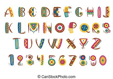 Primitive mexican font. Tribal indian or african letter...