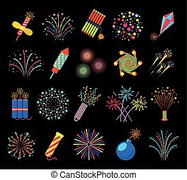 Pyrotechnics and fireworks vector illustration, petards fire...