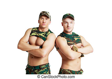 striptease dancer in camouflage - handsome striptease...