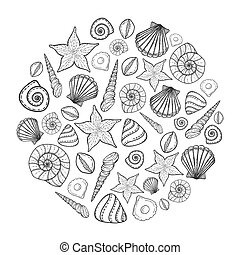Poster with seashells and starfishes. Marine background. Hand drawn vector illustration in doodle style.