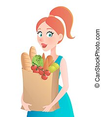 Vector illustration. Young woman holding paper bag of groceries. Girl with vegetables in supermarket.