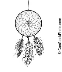 Dreamcatcher with detailed feathers. Boho style tattoo....
