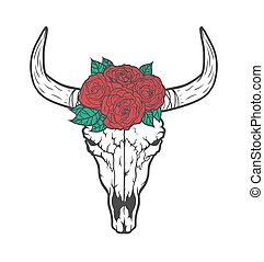Bull skull with roses native Americans tribal style. Dotted...