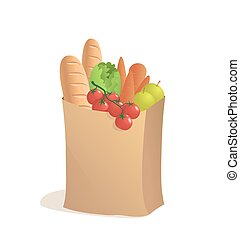 Full paper bag with food. Vector illustration in cartoon style. Groceries.