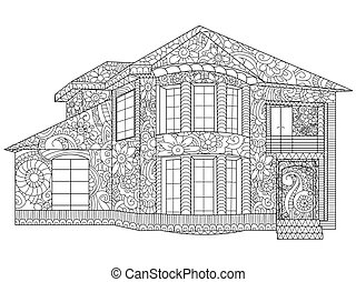 Two-storey house coloring vector - Two-storey house coloring...
