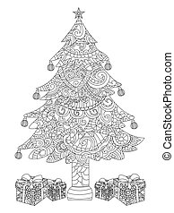 Christmas tree with gifts coloring vector - Christmas tree...