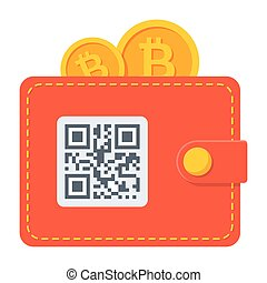 Bitcoin Wallet Icon - Bitcoin wallet concept with qr-code...