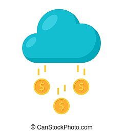 Money Rain Icon - Concept of Success like a cloud with money...