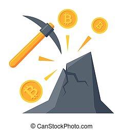 Bitcoin Mining Icon - Bitcoin mining concept with pickaxe,...