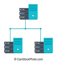 Server Network Icon - Bitcoin mining pool with peer-to-peer...