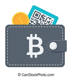 Bitcoin Wallet Icon - Bitcoin wallet concept with coin and...