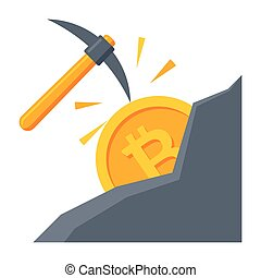 Bitcoin Mining Vector Illustration - Cryptocurrency mining...