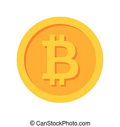 Golden Bitcoin Icon - Golden bitcoin icon for...