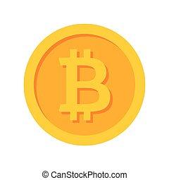 Golden Bitcoin Icon - Golden bitcoin icon for...