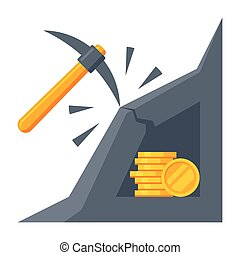 Bitcoin Mining Icon - Cryptocurrency mining concept with...