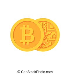Golden Bitcoins Icon - Golden bitcoins icon for...