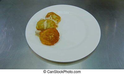 potato pancakes and the meat on a dish - potato pancakes and...
